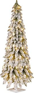 National Tree 60 Inch Snowy Downswept Forestree with 200 Clear Lights on a Metal Plate Stand (FTDF1-60ALO)