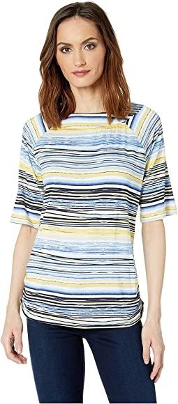 Striated Stripe Ballet Neckline Semi Short Sleeve Top