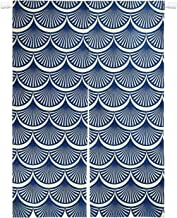Krelymics Japanese Noren Curtain Tapestry, Blue Ginkgo Pattern Doorway Curtain, Cotton Linen Door Curtains Dividers for Home Kitchen Bedroom Bathroom Living Room Office (33.5 W x 47.2 L inches)