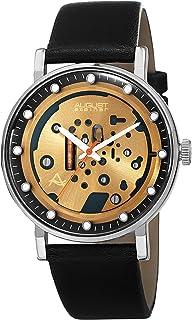 ساعة يد رسمية ستيم بانك للرجال من اوغست شتاينر - بمينا ساعة وعقارب برتقالية وسوار من الجلد الاصلي