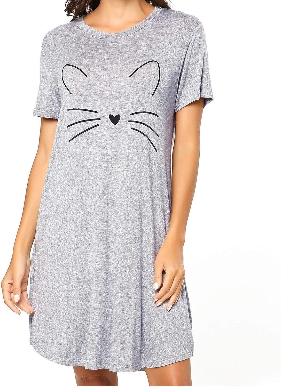 Casual Dress for Women Summer,Nightgowns Short Sleeve Nightshirts Printed Sleepwear Cute Sleep Shirts