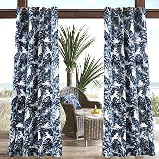 Madison Park Everett Printed Palm 3M Scotchgard Outdoor Curtain Door Treatment Panel for Patio Porch or Balcony, 54