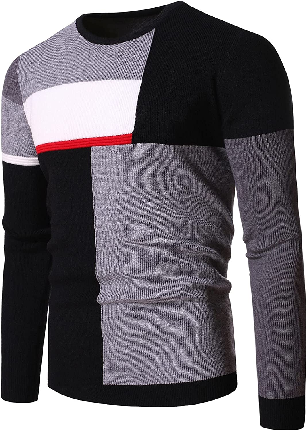 XXBR Sweater for Mens, Fall Winter Knit Intarsia Color Block Patchwork Crewneck Pullover Casual Teen Boys Jumper Tops