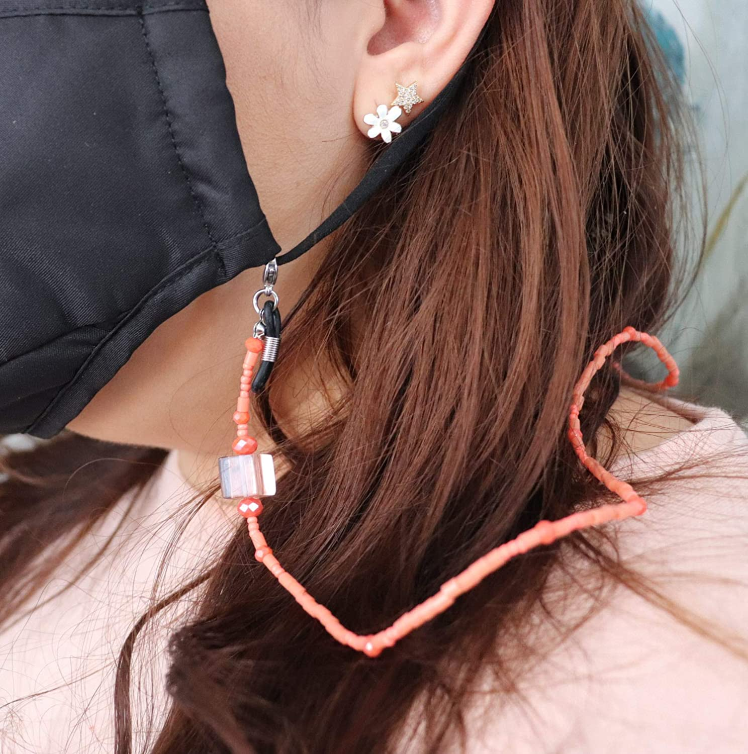Salmon Pink Challenge the lowest price of Japan Square Beads Face Crystals Mask Ranking TOP1 Lanyard