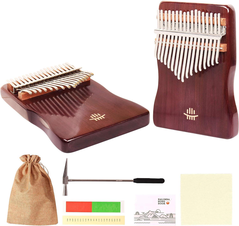 AMKOSKR Kalimba 17 Teclas Thumb Piano de Pulgar, Walnut Finger Piano, Instrumento Musical Portable Marimba con Libro de Instrucciones, Buen Regalo para Principiantes Niños y Adultos(En Forma de S)