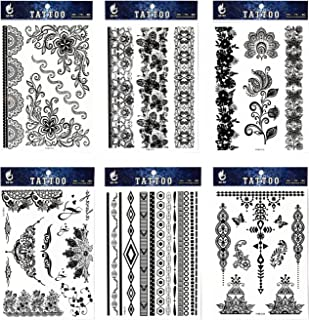 GGSELL GGSELL tattoo 6pcs Black lace temporary tattoos in one packages,including black jewelry lace,black totem lace,black flower totem,indian trial jewelry tattoos