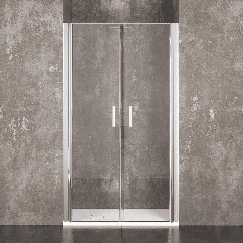 Mampara de ducha Saloon Sofia puerta de baño con apertura batiente de cristal templado transparente de 6 mm de altura 190 cm estructura aluminio anodizado asas de acero cromado, transparente: Amazon.es: Bricolaje