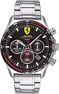 Ferrari Men's Pilota Evo Quartz Watch with Stainless Steel Strap, Silver, 22 (Model: 0830714)