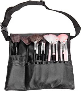 Pro Makeup Artist Cosmetics Tool Apron, Brush Belt Accessory Organizer, Black
