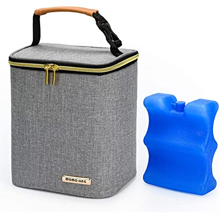 Momojing Insulated Breastmilk Cooler Bag and Baby Bottle Bag with Ice Pack Include, Fits 4 Large Baby Bottles Up to 9 Ounce for Nursing Mother-Grey