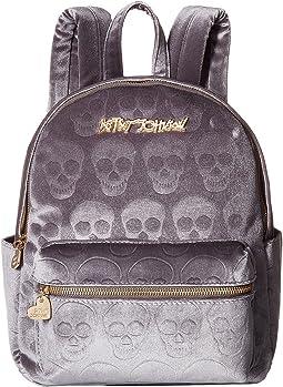 Betsey Johnson - Head of The Class Velvet Skulls Backpack
