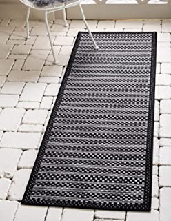 Unique Loom Outdoor Border Collection Striped Casual Transitional Indoor and Outdoor Flatweave Gray  Runner Rug (2' 2 x 6' 0)