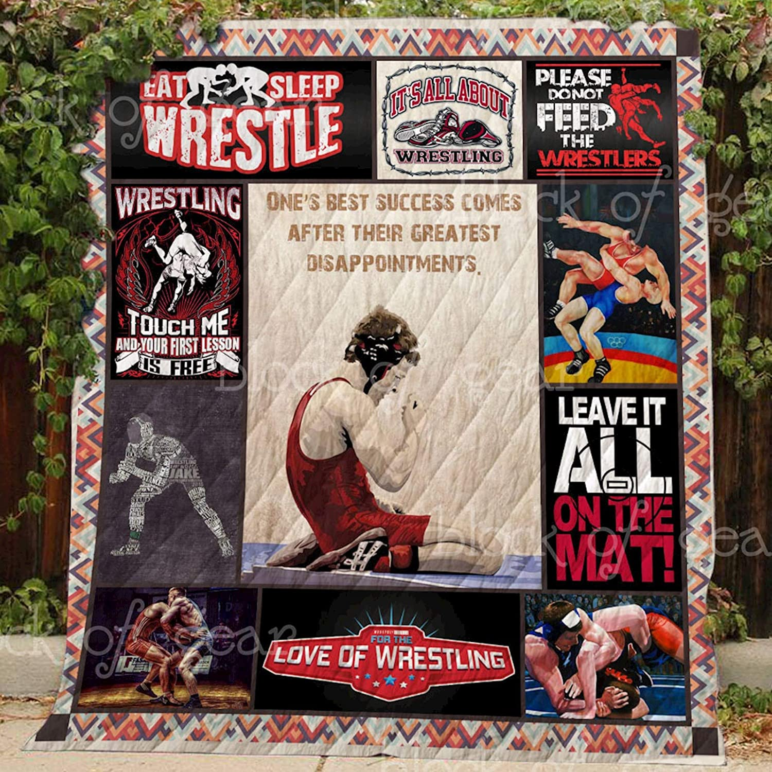 Wrestling Quilt TH500, Queen All-Season Quilts Comforters with Reversible Cotton King Queen Twin Size - Best Decorative Quilts-Unique Quilted for Gifts