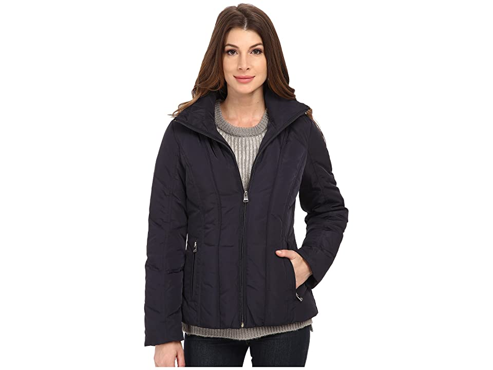 Calvin Klein Short Down Coat w/ Untrimmed Hood (Navy) Women