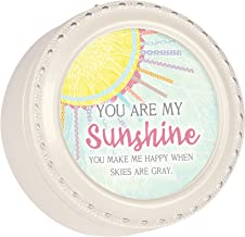 Cottage Garden You are My Only Sunshine Glossy Ivory Tiny Round Music Box Plays You are My Sunshine