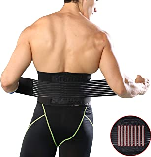 HiRui Back Brace Back Support Belt, Lumbar Support Relief for Back Pain, Herniated Disc, Sciatica, Scoliosis - Waist Trainer Brace Lower Back Belt for Men Women Youth Elders with Removable Spring (M)
