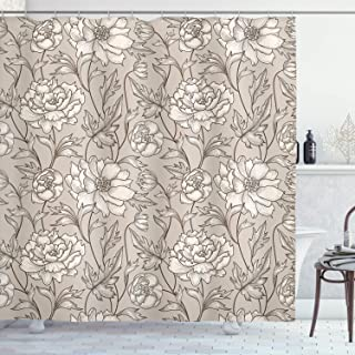 Ambesonne Aster Shower Curtain, Earth Tones Flower Petals Autumn Classic Flourishing Mother Nature Design, Cloth Fabric Bathroom Decor Set with Hooks, 70