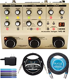 BOSS VE-8 Acoustic Singer Guitar Vocal Processor with 48V Phantom Power Bundle with AC Adapter, Blucoil 10-FT Balanced XLR Cable, 10-FT Straight Instrument Cable (1/4in), and 5x Cable Ties