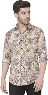 Mufti Khaki Animal Print Full Sleeves Shirt