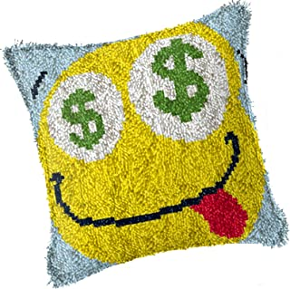 DIY Latch Hook Kit Rug Making Crafts for Kids Adults Beginner Unfinished Square Pillow Covers Cushion with Printed Canvas ...