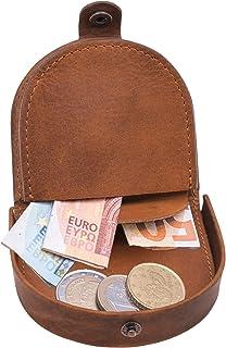 Hill Burry Monedero de Cuero Genuino | Portamonedas pequeño - Monederos de Monedas | Estuche de Monedas - Pocket (marrón)