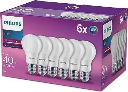 Philips - bombilla E27,rosca Edison, LED, 230V–blanco cálido, efecto escarchado, sintético, E27, 5.5 wattsW 240 voltsV
