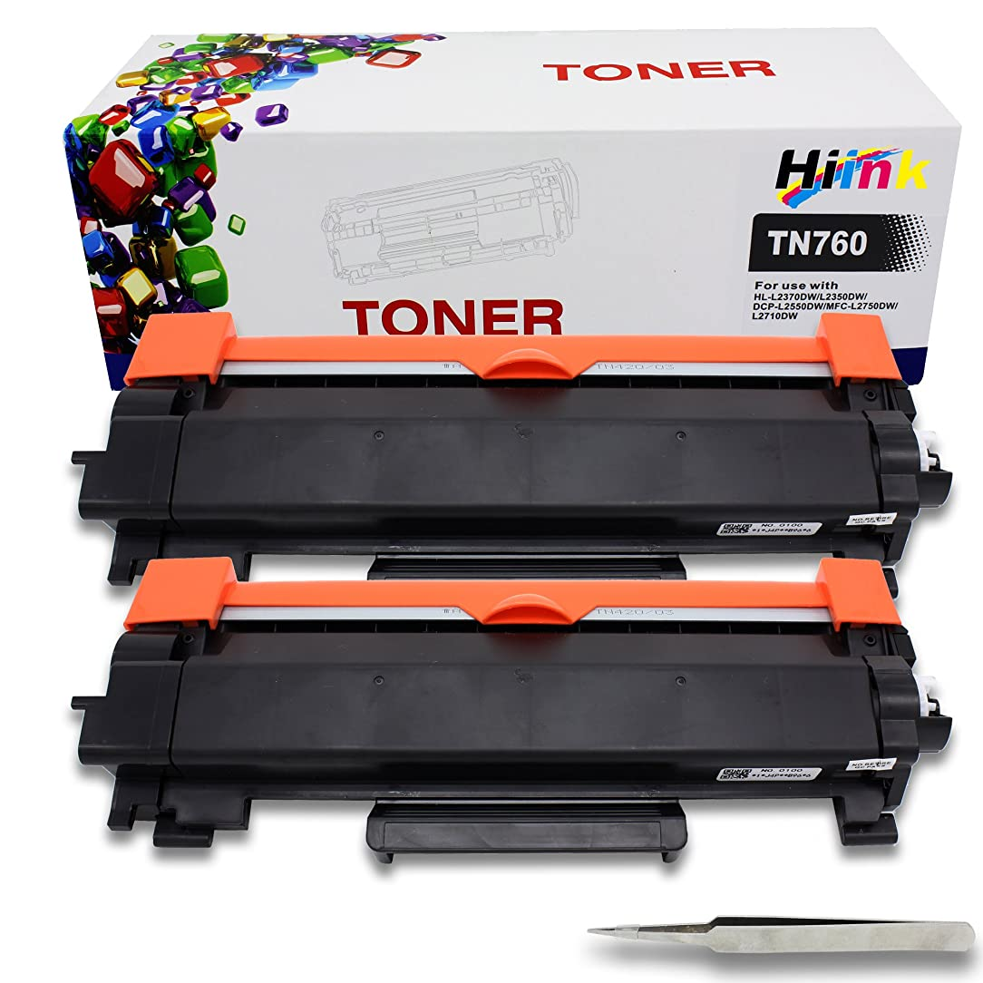 HIINK Compatible Toner Cartridge Replacement for Brother TN-760 TN730 TN760 Toner Used in HL-L2350DW HL-L2395DW HL-L2390DW HL-L2370DW DCP-L2550DW MFC-L2710DW MFC-L2750DW MFC-L2730DW(2-Pack, No Chip)