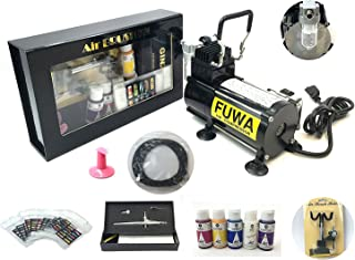 Fuwa 1/8 HP Airbrush Air Compressor Kit For Nails, Tattoo, or Tanning (Kit Includes: Holbein Aeroflash Colors from Japan, Ginza Airbrush Gun, and Some other Airbrush Parts)