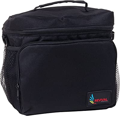 Revival Picnic Cool Bag Lunch bag with Large Side Pockets Carry Handle and 120cm Shoulder Strap (Large, Black)