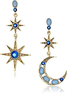 Women's Moon and Star Drop Earrings