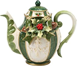 Cosmos Gifts 10309 Emerald Holiday Teapot, 7-5/8-Inch
