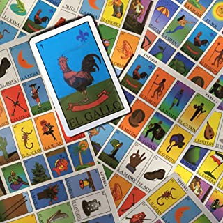 Mexican Lottery Bingo Set - Autentica Loteria Mexicano - Includes 10 Boards, 52 Card Deck, and Bingo Markers - Colorful Authentic Educational Mexican Bingo with Drawings and Spanish Words