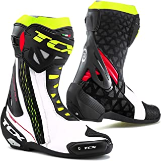 TCX RT Race Men's Street Motorcycle Boots - White/Red/Yellow Fluo/42