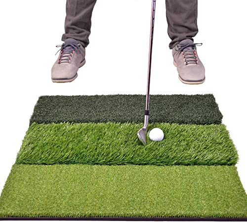 "GoSports Tri-Turf XL Golf Practice Hitting Mat - Huge 24"" x 24"" Turf Mat for Indoor Outdoor Training, Green"