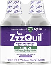 ZzzQuil, Nighttime Sleep Aid Liquid, 50 mg Diphenhydramine HCl, No.1 Sleep-Aid Brand, Free of Artifical Dyes and Alcohol, ...