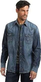 Men's Big & Tall Retro Two Pocket Long Sleeve Snap Shirt