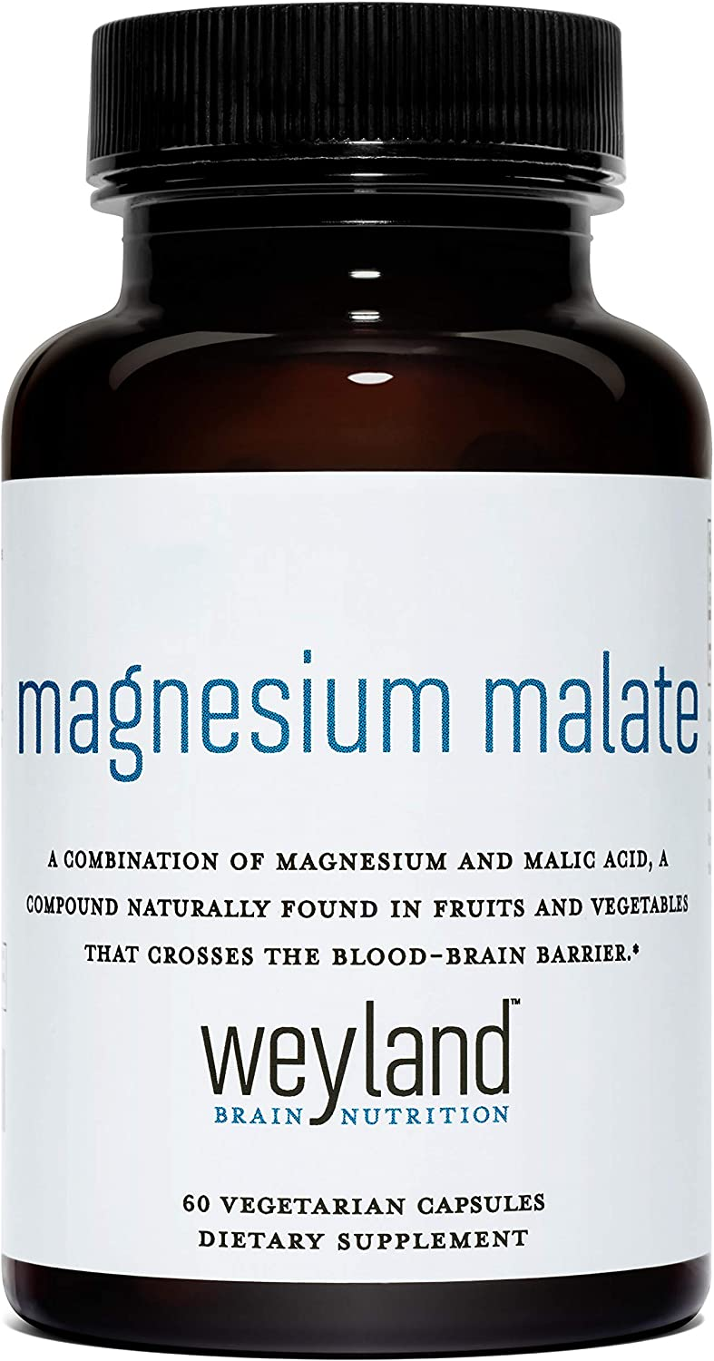 Weyland Brain Nutrition: Magnesium Malate (60 Count), 60 Vegetarian Capsules, Supports Natural Energy Production and Healthy Nervous Function