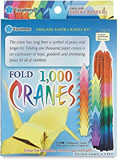 Yasutomo 1000 Origami Paper Crane Kit, 3 X 3 in, Assorted Color, Pack of 1020, Assorted.