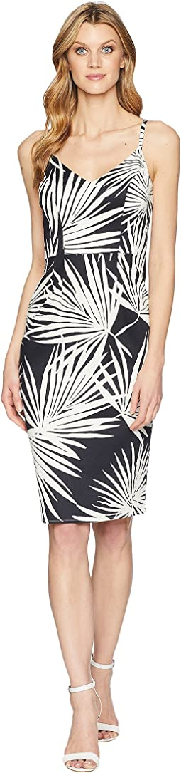 Cotton Sateen V-Neck Midi Sheath