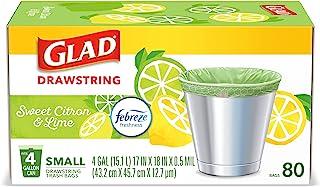 Glad Small Kitchen Drawstring Trash Bags – 4 Gallon Green Trash Bag Febreze , Sweet Citron & Lime, 80 Count (Package May V...