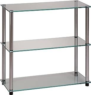 Convenience Concepts Designs2Go Go-Accsense 3-Shelf Glass Bookcase, Clear Glass