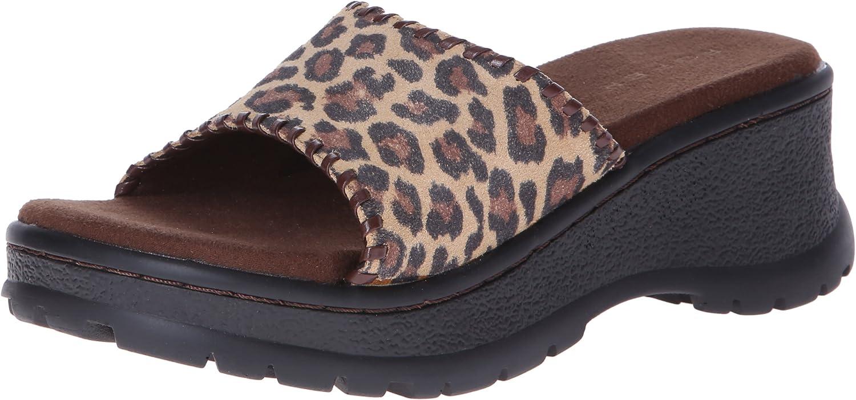 Roper Women's 激安卸販売新品 Leopard and Wedge Sandal Whip 期間限定で特別価格