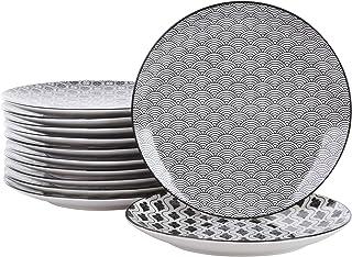 Vancasso, série Haruka, assiettes plate, 12 pièces, en porcelaine, style japonais