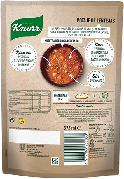 Knorr - Mi Plato Completo Crema de Potaje de Lentejas, 375 ml