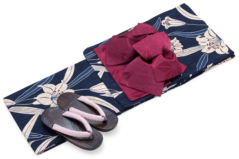 レディース浴衣セット[浴衣/作り帯] bonheur saisons 紺色 ネイビー ベージュ 赤紫色 百合 ユリ ゆり 花 雨縞 綿麻 浴衣セット 女性 フリーサイズ