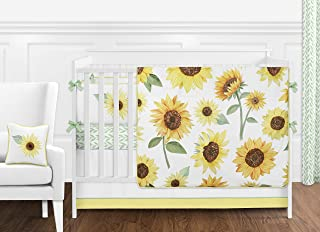 Sweet Jojo Designs Yellow, Green and White Sunflower Boho Floral Baby Girl Nursery Crib Bedding Set with Bumper - 9 Pieces - Farmhouse Watercolor Flower