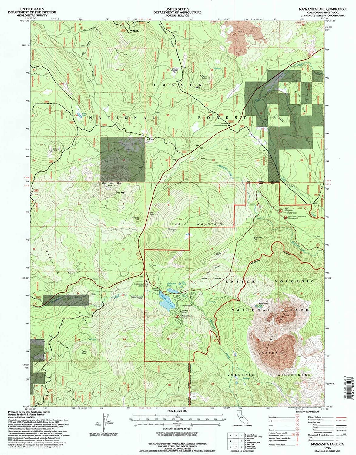 Manzanita Lake CA topo map, 1 24000 Scale, 7.5 X 7.5 Minute, Historical, 1995, Updated 1997, 26.7 x 21.4 in