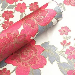 Moyishi Vintage Floral Flower Paper Peel & Stick Shelf Liner Dresser Drawer Sticker 17.7''x78.7'' (Red)