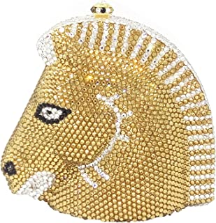 Bag for Women Fashion Luxury Rhinestone Full Color Solid Color Diamond Banquet Evening Bag Women's Horse Head Styling Banquet Wedding Dress Clutches Bag Bride Metal Chain Shoulder Bag Pu Wallet