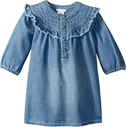 Light Denim Dress, Constrasting Stitching On The Neckline (Infant/Toddler)